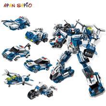 Transformação 6 em 1 série figura tijolos, cidade, robô, starwars, criador, blocos de construção, brinquedos para crianças