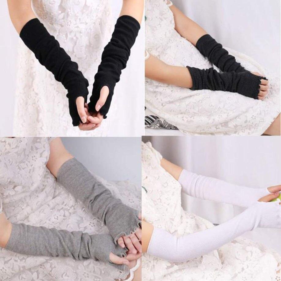 Muqgew Mode Ärmel Fingerlose Handschuhe Winter Warme Mitten Frauen Überlänge Sleeve Lotusblatt Ellenbogen Warmers Armstulpen Modische Muster Armstulpen