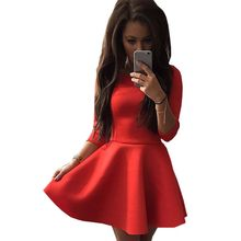 Women summer dress 2016 new quality Fashion long-sleeve mini formal solid color A-line sexy dresses vestidos clothing GZ6032(China)