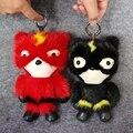 2017 nuevo estilo súper rayo superman colgante unisex de piel de visón real bolsa llavero mujeres special 20 cm de piel de animal de regalo para el amigo