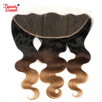 Ombre Brazilian Body Wave Closure 13x4 Ear To Ear Pre Plucked Lace Frontal Closure 1B/4/27 Non Remy 100% Human Hair Closures