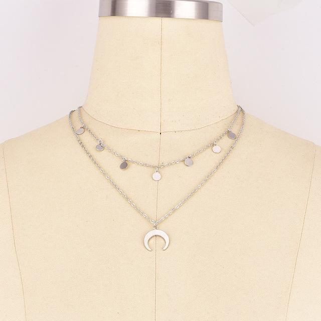 Multi-layer Sequin Tassel Pendants Choker Necklace