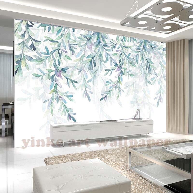 US $9.13 46% OFF|3d Europäischen green leaf aquarell wohnzimmer  schlafzimmer tapeten sofa tv backgroumd wandpapierrolle, papel de parede  listrado-in ...