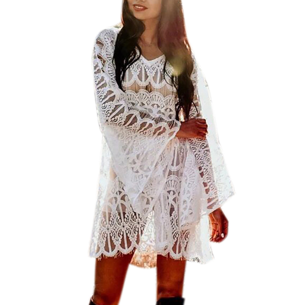 2019 Women Fashion Cover Lace Mini Dress Suit Bikini Swimwear Beach Swimsuit Smock vestidos de fiesta #25