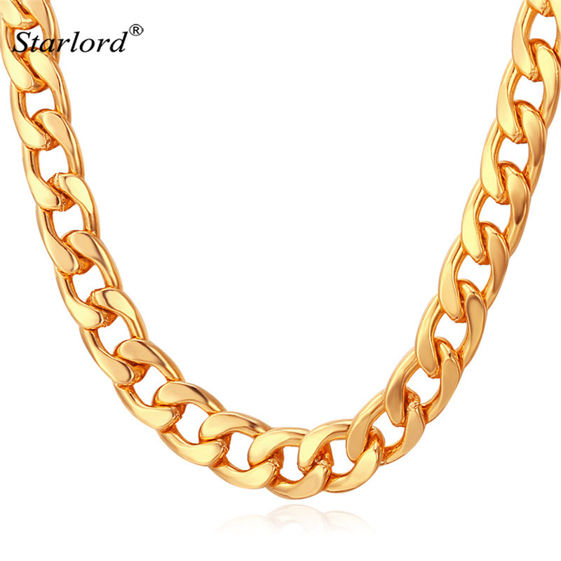 Miami Cuban Link Chain Necklace 7mm Silver/Gold Color Curb Chain For Men Jewelry Corrente De Prata Masculina Wholesale N755