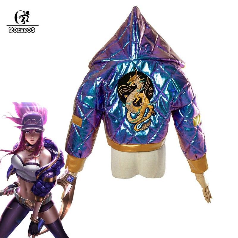 ROLECOS Akali KDA маскарадный костюм Супергероини AKALI Косплей женское зимнее пальто куртка KDA пальто женское LOL игровой костюм K/DA подарок на Хэллоуи...