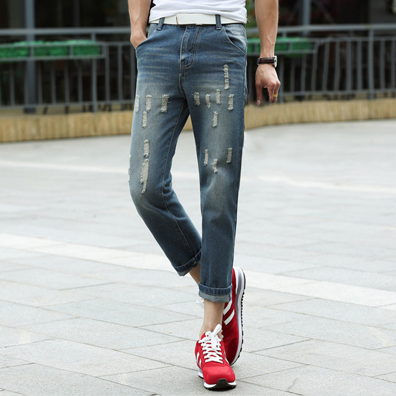 Fashion Spring Summer Men Tight Denim Pants Stretch High Waist Slim Vintage Man Casual Hole Jeans Trousers  FS99