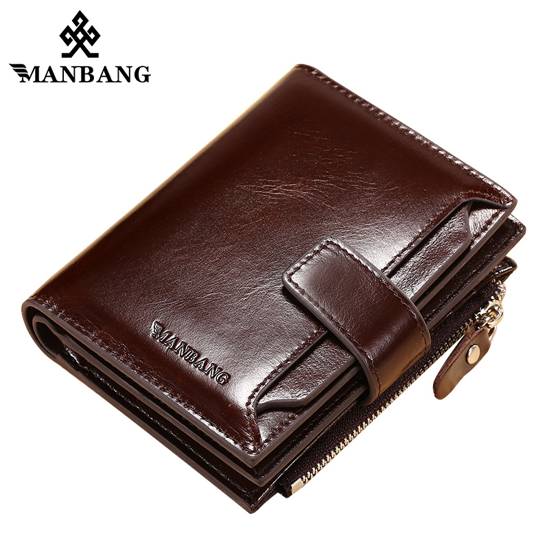 ManBang 2019 Hot Sale Wallets Man Short Genuine Leather Card Holder Snap Brand Mini Purse Folding Designer Coin Bag Male