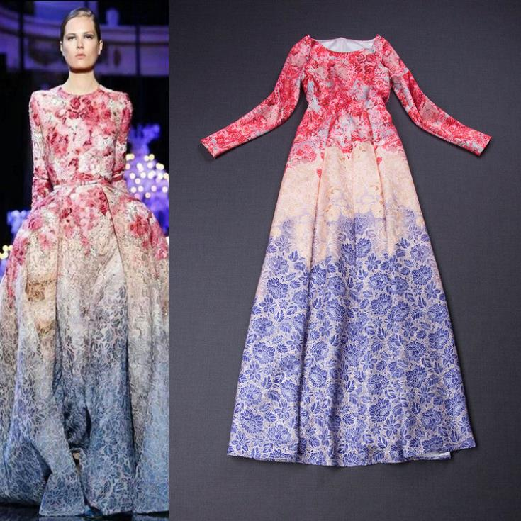 2015 runway flower petal print long sleeve gradient color maxi boutique dress - Chic Classic Store store