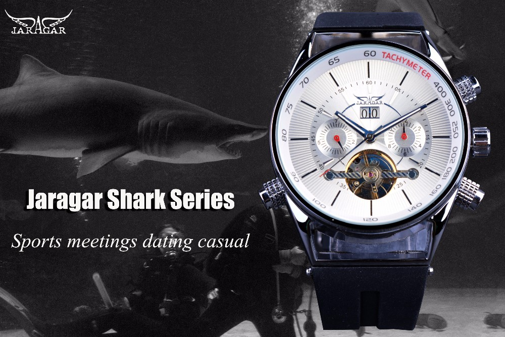 Jaragar Mens Watches Top Brand Luxury Automatic Fashion Sport Watch Shark  Lines Design Rubber Band Tourbillion Display Calendar Buy Online Watches