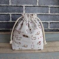 Ibyye 17 см милый кот мультфильм Drawstring сумки хранение парусина Сумки Макияж сумка монета комплект Карманный Кошелек Новый