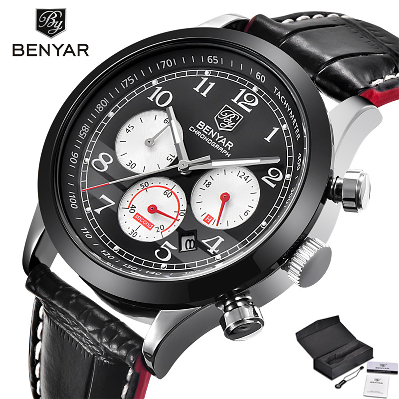 BENYAR Mens Chronograph Sport Watches 3ATM Water Resistant Date Aviator Genuine Leather Band Wristwatch Gift relogio masculino