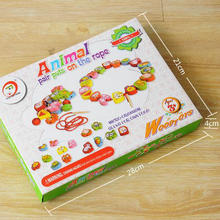 Exempt postage, wooden toys, baby educational cartoon animals matching pearl game, strings of beads series