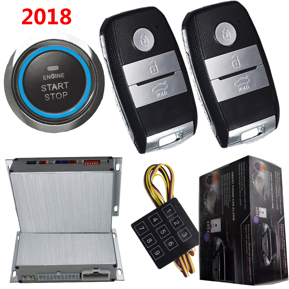 push start stop button car security alarm system auto pke keyless entry car doors shock sensor alarm trigger remote start stop