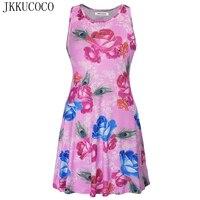 JKKUCOCO 2017 Chinese Style Peony Flowers Printing Women Dress O Neck Sleeveless Dress Women Summer Dresses