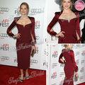 Celebrity Red Carpet Teresa Palmer vestido envoltura del amor longitud de la rodilla satén por encargo de la celebridad vestidos largos