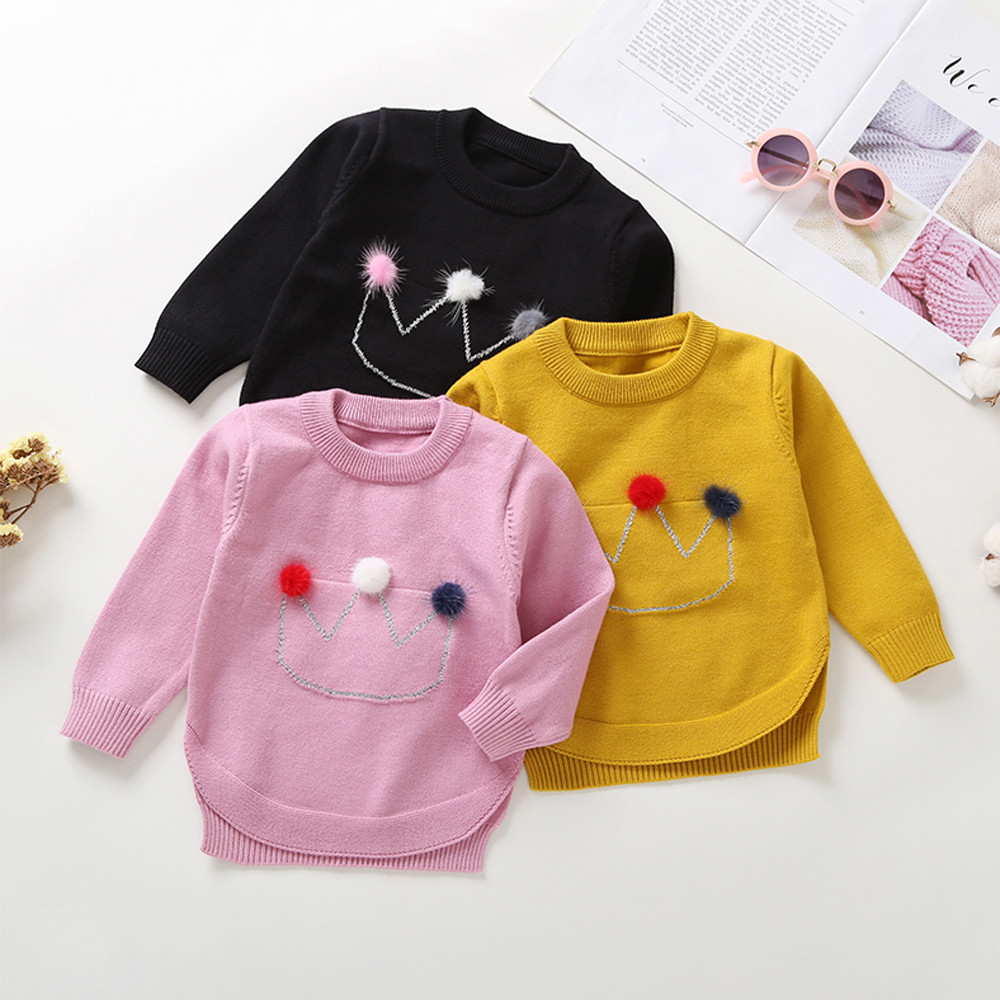 8cd2c6049 MUQGEW Toddler Infant Baby Boys Girls Clothes Crown Hair Ball Long Sleeves  Sweater shirt Tops Overalls