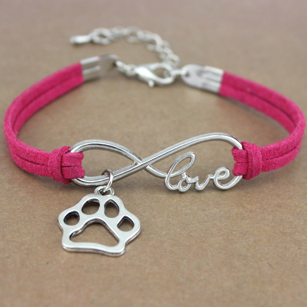 2018 Fashion Dog Lovers Rescue Unisex Antique Silver Infinity Love Dog <font><b>Paw</b></font> Charm Women's <font><b>Bracelets</b></font> for Women image