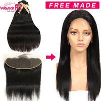 Free Customized Straight Lace Front Human Hair Wigs By Brazilian Remy Straight Human Hair Bundles With Frontal 10A Grade
