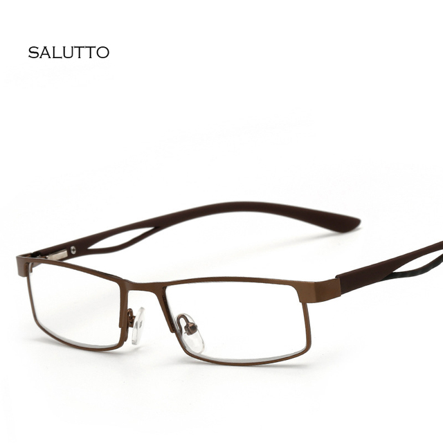 b12b698b19e Metal Square Frame Hyperopia Eyeglasses Prescription Reading Glasses Men  Women Business Far Sight Eyewear oculo de