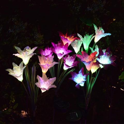 solar ao ar livre luzes de jardim jogo pacote luzes movidos a energia solar 8 2 flor lirio