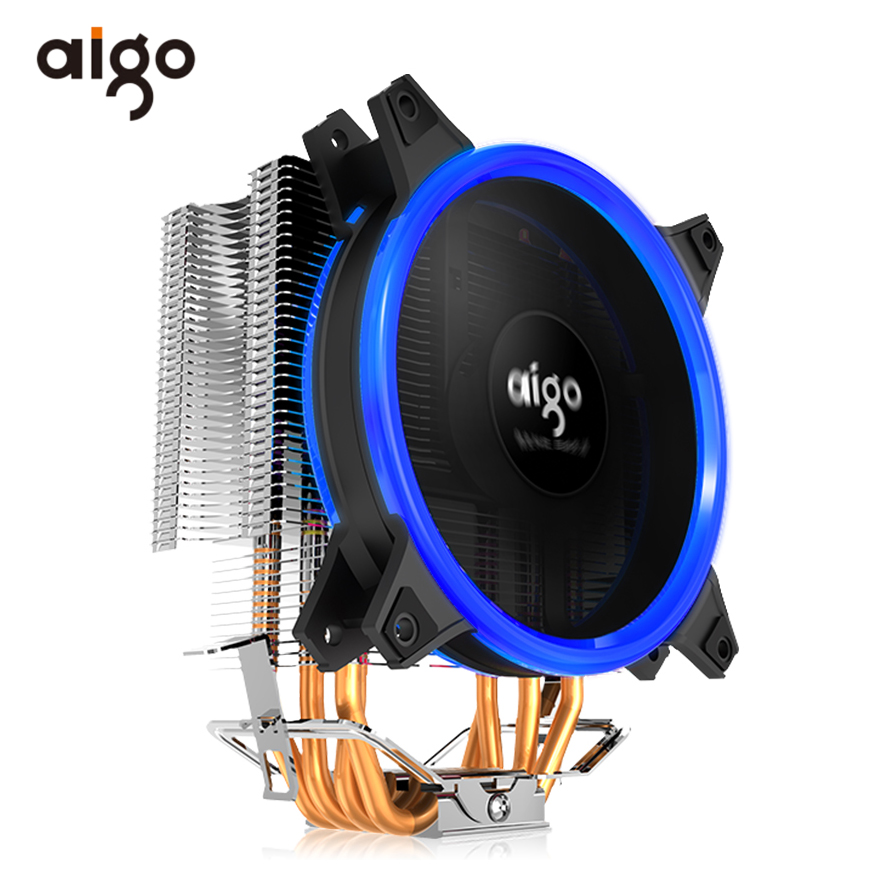 Aigo Computer PC CPU Cooling Fan Radiator 4 Heatpipes CPU Cooler Fan Radiator Aluminum Heatsink for LGA775/1155/1156/1366/2011 computer radiator blower cooler cooling fan for lenovo ideapad s410p s510p laptop cpu processor as replacement