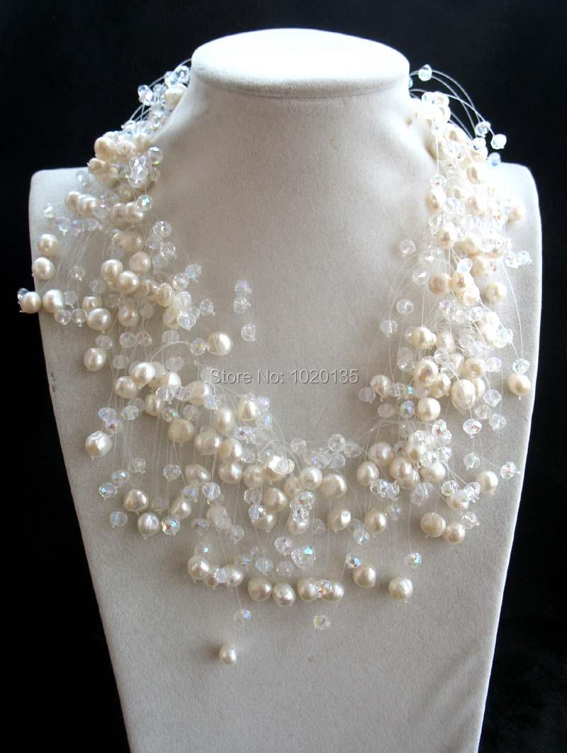 Collier à facettes en gros perle d'eau douce blanc baroque et quartz collier de mode artisanal de 18 pouces FPPJ