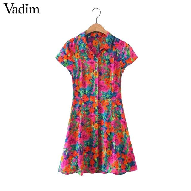 Vadim женщины sweet floral dress коротким рукавом карманы лето turn down воротник случайные линии мини-платья vestidos qz3023