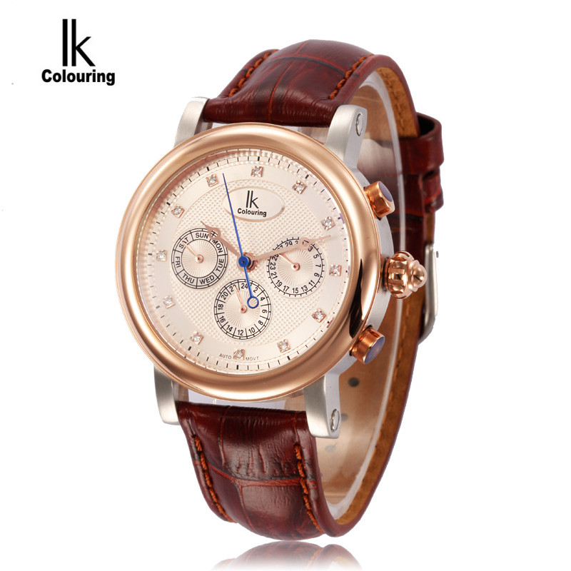 Luxury IK Orologio Uomo Men's Watches Automatic Men's 24Hours/Week/Day Allochroic Dial Mechanical Wristwatch with Box Free Ship ik colouring men s orologio uomo allochroic glass skeleton auto mechanical watch wristwatches gift box free ship