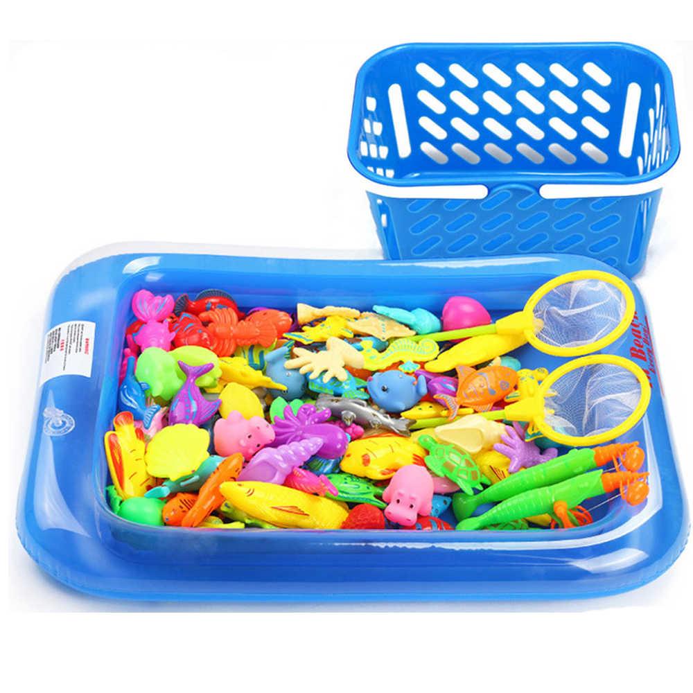 Juego de juguetes de pesca magnéticos para niños de 18-52 Uds con imán de red de piscina inflable, caña de pescar, divertidos juguetes clásicos para regalo de niños