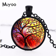 2017 New Life Tree Pendant Necklace Art Glass Cabochon Necklace Bronze Chain Vintage Choker Statement Necklace Women Jewelry HZ1