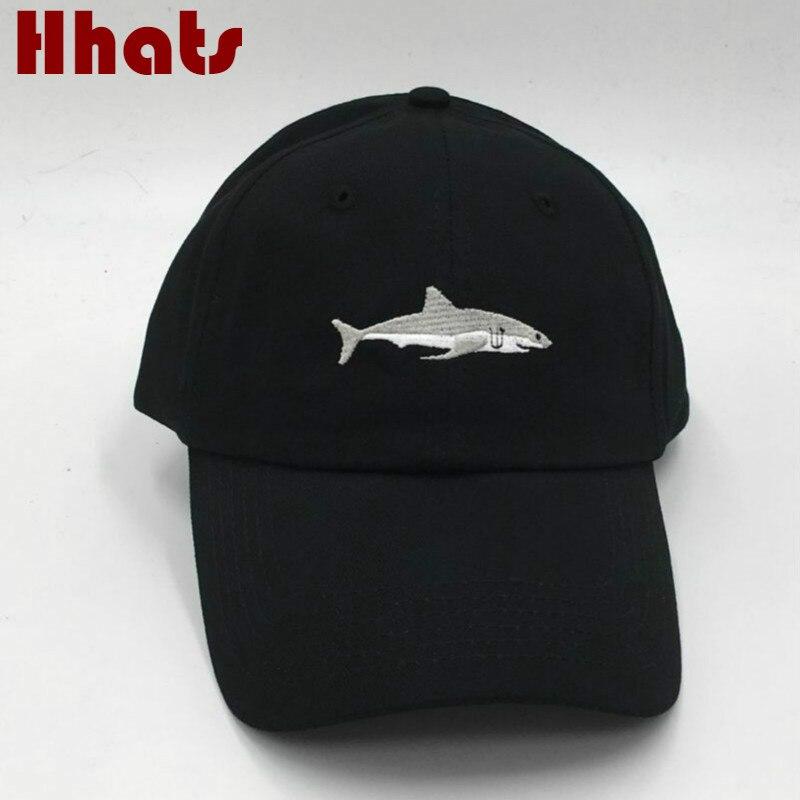 Die in dusche genäht shark hysterese mann baseballmütze hip hop stickerei gebogene strapback dad hut sommer sonnenhut kappe