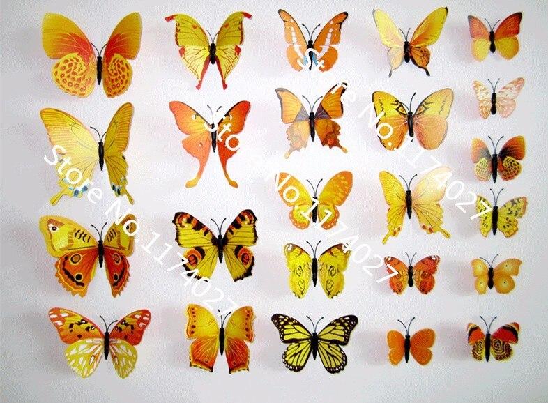 drop shipping 12pcs PVC 3d Butterfly wall decor cute Butterflies ...