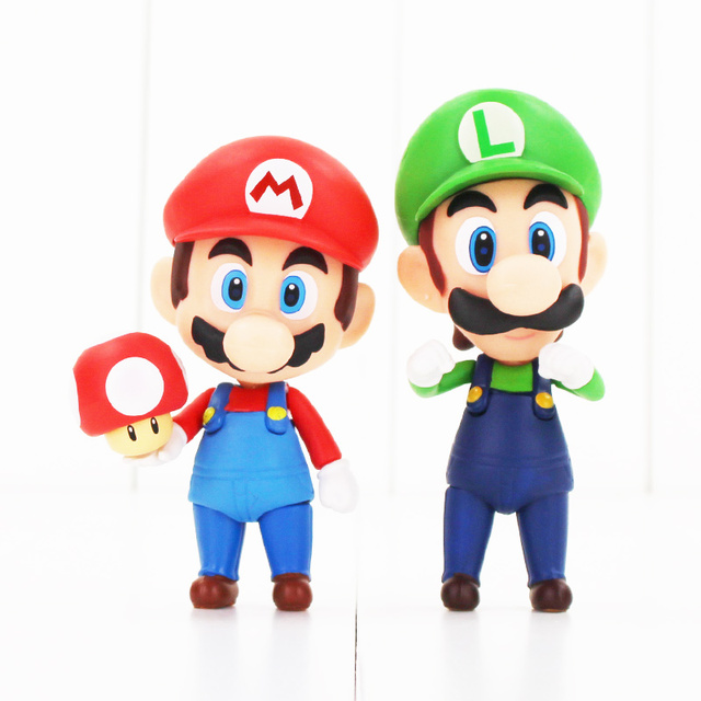 Nendoroid Super Mario Bros Figure Toy Mario 473 Luigi 393 With Toad Mushroom Goomba Ghost Bullet 1