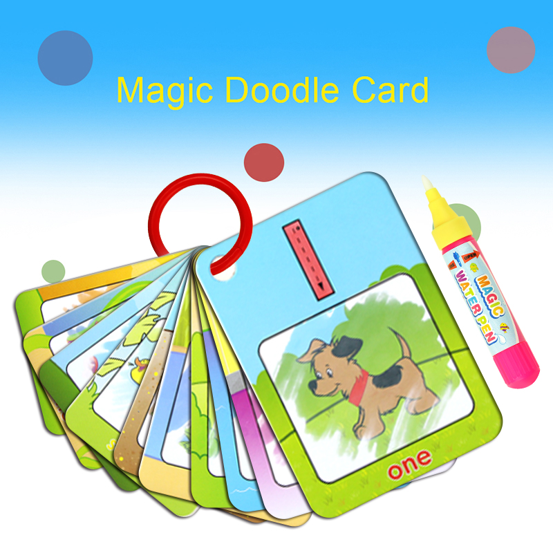 New Magic Doodle Card Water Drawing Card Kids Learn Number/Color/Shape In English 8/10 Pcs With 1 Pcs Water Pen Coloring Toy