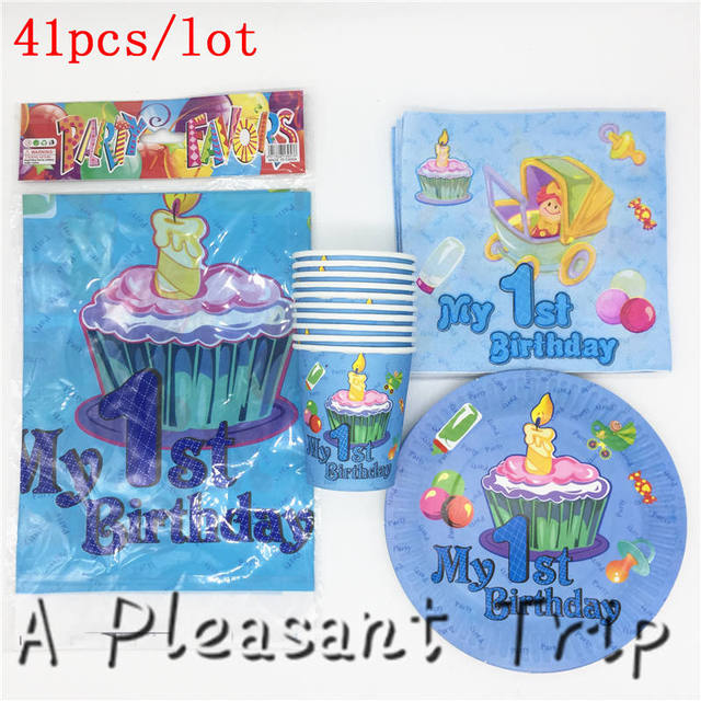 41pcs Lot Boy Children Favor Cutlery Combination Happy First Birthday Party Decoration Tray Cup Tablecloth Baby Shower Article In Disposable Party