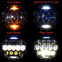 7 inch 130W LED Protection Headlights Kit Motorcycle DRL Turn Signal Halo Ring Angle Eyes For Harley Davidson Touring Softail