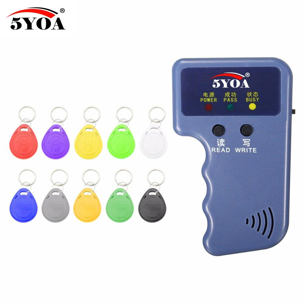 De poche 125 KHz EM4100 RFID Copieur Writer Duplicator Programmeur Lecteur + 10 Pcs EM4305 T5577 Réinscriptible ID Télécommandes Tags Carte