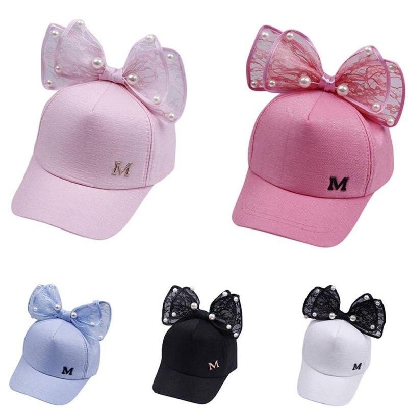 Spring Summer Children Baseball Cap Girls Rabbit Ear Pearl Big Bow Kids Sun Hat