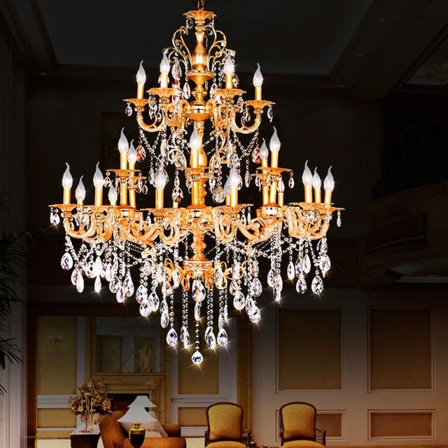 Doppelschicht Kronleuchter Halle Modernen Hotel Kronleuchter Kristall  Treppe Licht Antike Bronze Kronleuchter Französisch Gold Kronleuchter