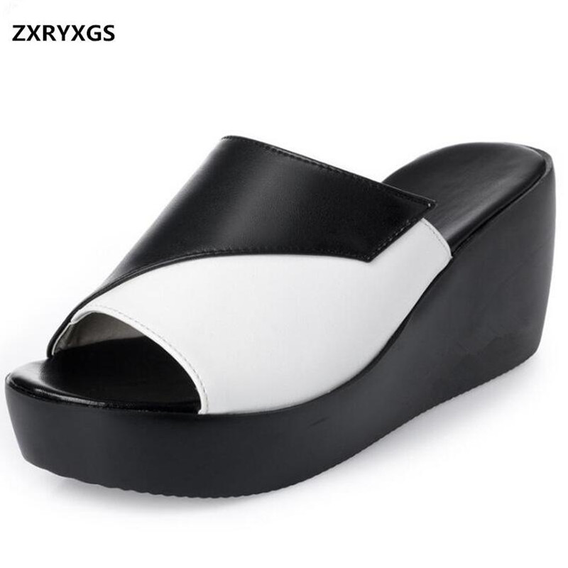 ec9841b4edd ZXRYXGS-marca-sandalias-zapatillas-2018-nuevo-hechizo-Color -plataforma-zapatos-mujer-cu-as-sandalias-zurriago-suave.jpg