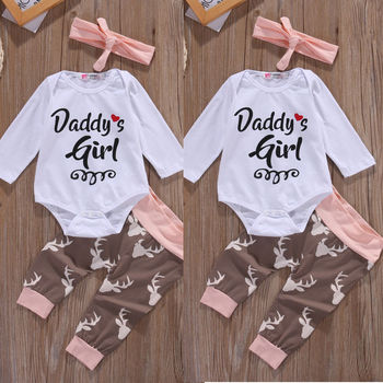 Christmas Newborn Infant Early Baby Girl Clothes Set Tops Pants Bodysuit Outfits Headband 3pcs Cute Baby Girls Clothing chivry 4pcs cute infant baby girls boys unicorn clothing long sleeve bodysuit top pants headband hat girl outfits clothes set