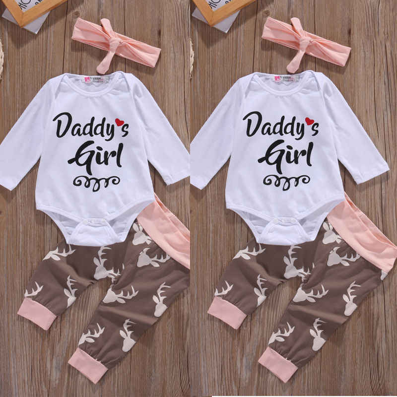 7e0da36be2b Christmas Newborn Infant Early Baby Girl Clothes Set Tops Pants Bodysuit  Outfits Headband 3pcs Cute Baby
