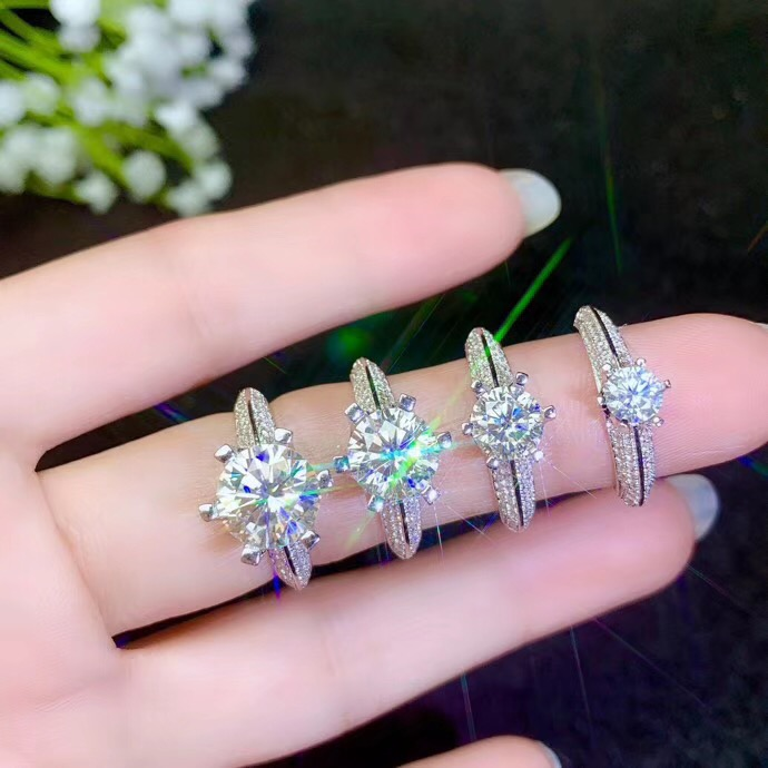 Moissanite  New Ring, 925 Sterling Silver, Beautiful Color, Sparkling, 1 Carat 2 Carat Diamond   Moissanite