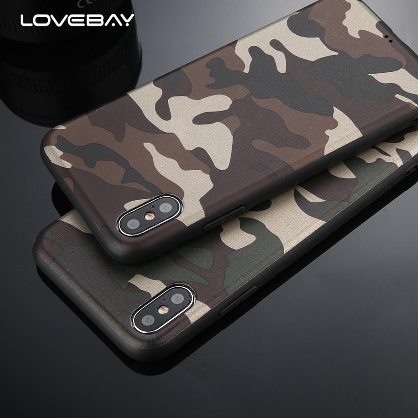 Lovebay Army Green Camouflage Case For IPhone X For IPhone 6 6S 7 8 Plus XR XS Max Soft