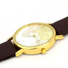 Important Style relogio feminino Geneva Ladies Retro World Map Design Leather-based Alloy Band Analog Quartz Wrist Watch Jan12