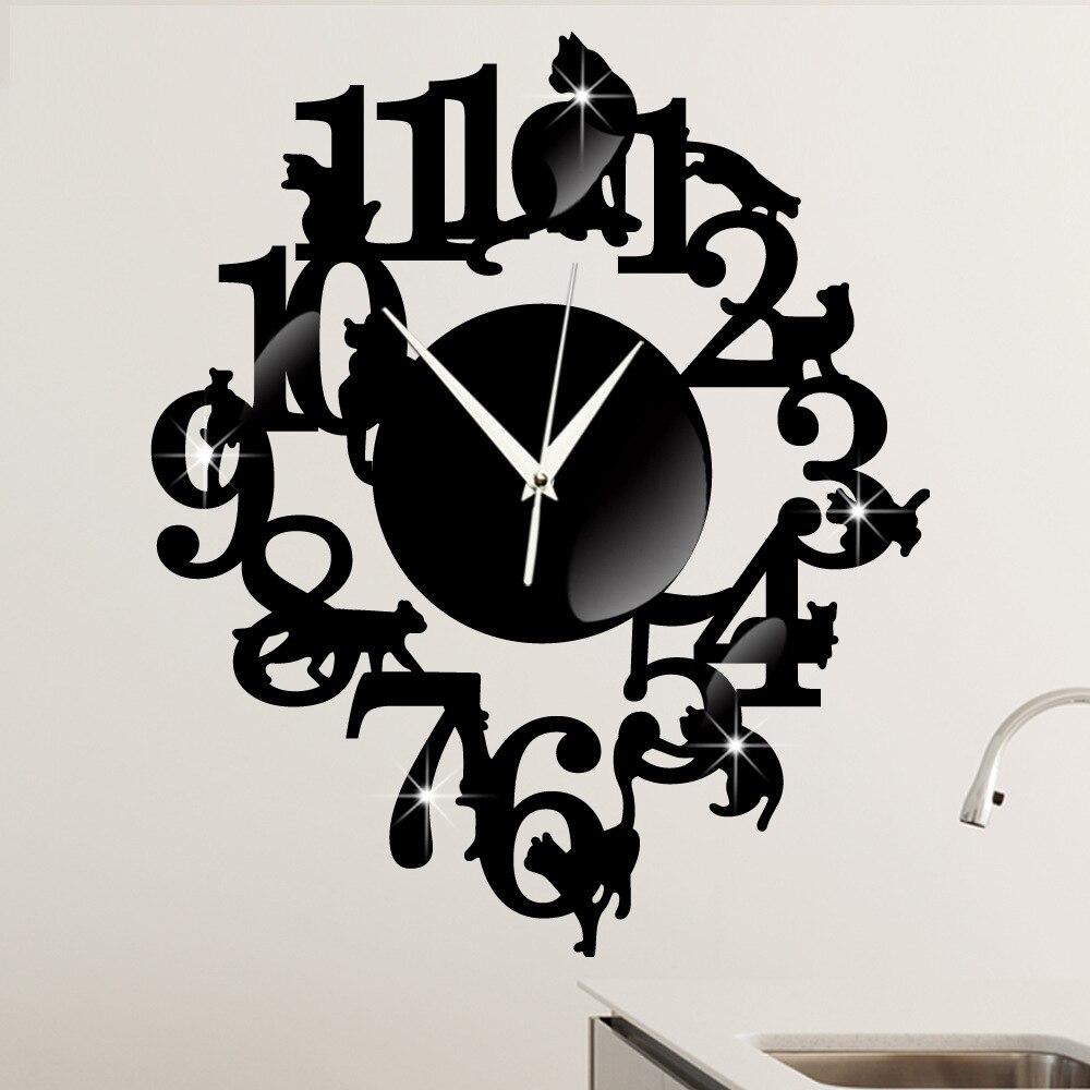 s originalit noir chat horloge murale un salon d corer mur horloge de bande dessin e la. Black Bedroom Furniture Sets. Home Design Ideas