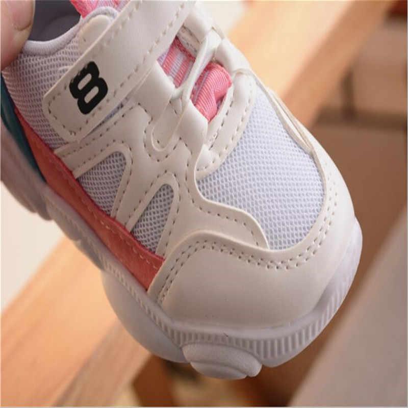2019 جديد بنات بنين أحذية رياضية Antislip لينة أسفل الاطفال طفل حذاء رياضة الأطفال عادية شقة أحذية رياضية مدرسة أحذية بيضاء من القماش الكتاني