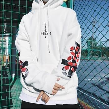 HEYGUYS2018 New Spring Hoodie Mens Hip pop Sweatshirts Harajuku hip hop Cross double snake embroidey Long Sleeve Hoody Clothing