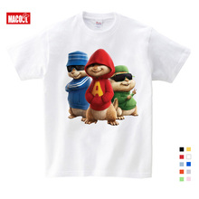 2019 Hot Sale New Alvin and The Chipmunks Boys Tops Girls Costume Kids 100% Cotton White T Shirt